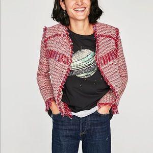NWT Zara Red Tweed Fringe Frayed Blazer Jacket